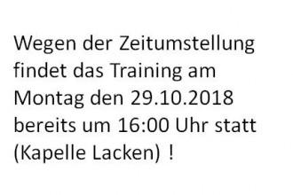 Achtung: Änderung der Trainingszeit Sektion Laufen